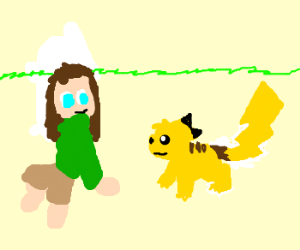 girl chit chats with pikachu