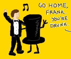 Frank dances w top hat