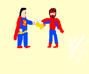 Superman shares a cold one with Spidey