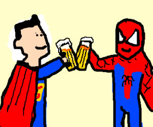 superman and spider man meet in a cafe rh drawception com Drinking Party Clip Art Person Drinking Smoothie Clip Art