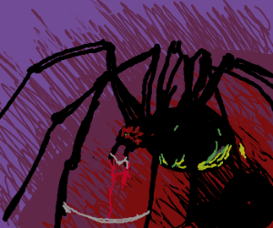 Zombie spider emerges out of the dark