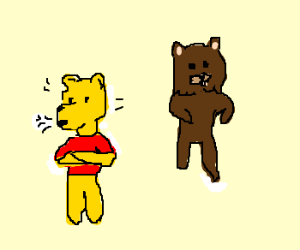 Pooh does not approve on Pedobear.