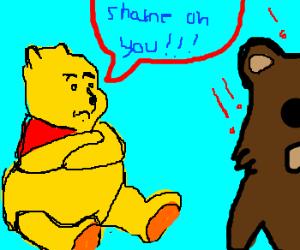 pooh bear does not approve of pedobear