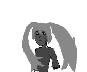 sassy miku hatsune in greyscale