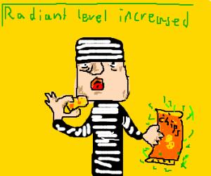 A rascal eating radioactive potatoes