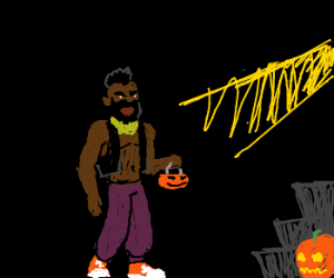 Mr T goes treat-or-treating
