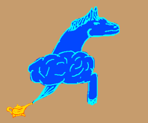 Horse genie rides on a puff of smoke