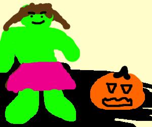 Cross-dressing Hulk chills with pumpkin