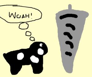 Cow watching tornado