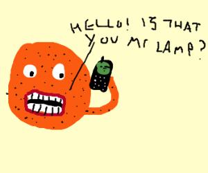 Annoying Orange Phones A Lamp