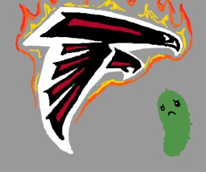 Flaming ATL Falcons logo w/ sad pickle