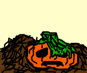 Depressed Jack-O-Lantern now in compost