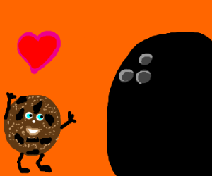 Cookie in love with Bowling ball