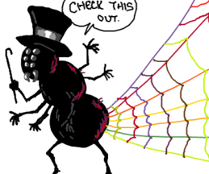 Top hat spider spins colorful web.