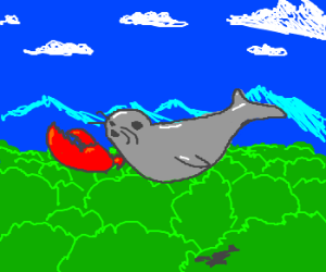 Seal w/ lobster claw flying over forest
