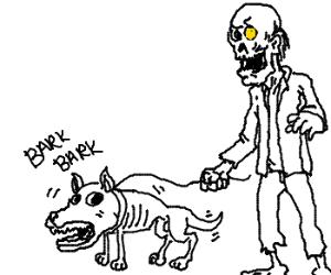 Zombie man and zombie dog.