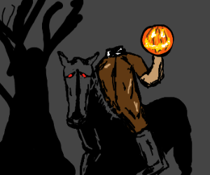 headless horseman riding through night.