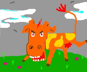 a terrifying mutant cow