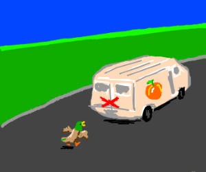 Duck Chases Marked Peach Van