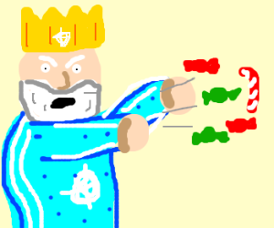 King Winter Throws Candy.