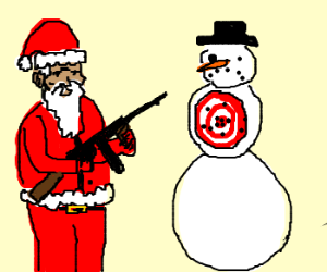 santa using his holiday weapons