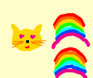 decapitated cat head loves rainbows