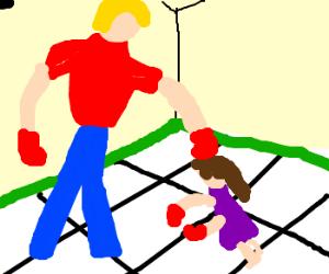 Boy denies tiny boxing girl.