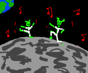 Aliens dancing on the moon