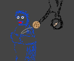 Ninja steals cookies from Cookie monster