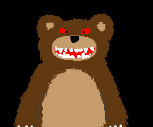 Happy bear with red eyes