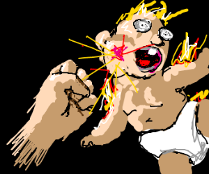 bodyless hand punches flaming baby