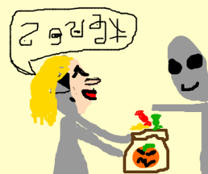 Gray people trick-or-treating