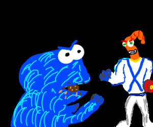 Cookie Monster and Earthworm Jim faceoff