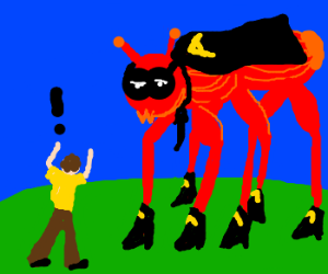 A man is angry with a giant red ant.