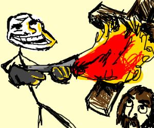 Troll sets fire to Jesus' cross