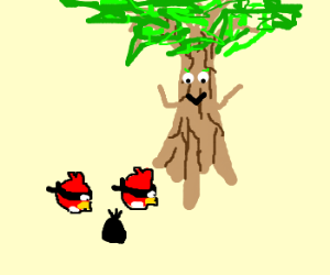 Tree yells against thief birds