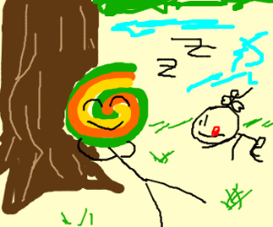 man with lollypop head next to tree