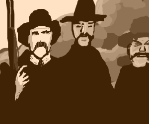 main cast of Tombstone emerge from fire