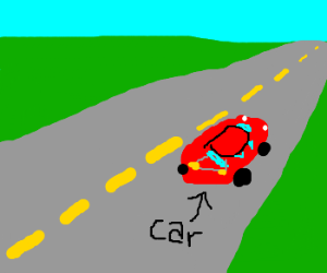 red car on a lonely road