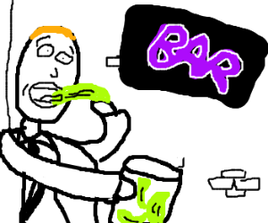 man eating pickles outside tavern