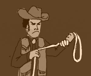 Cowboy angrily ties a noose