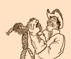 Hang on, pardner, yer knot getting noose