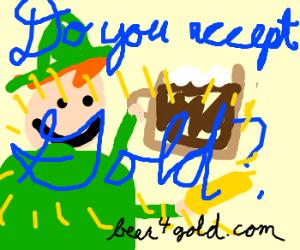 Leprechaun tries to pay bar tab w/ gold