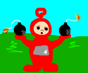 Hot red teletubbie with bombs