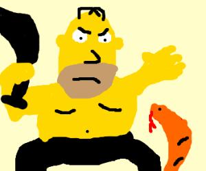 Homer on weasel wacking day