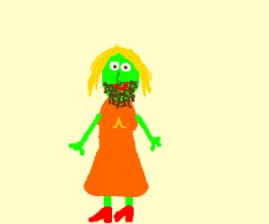 Woman, green skin, brown beard