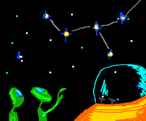 Aliens consult the star map