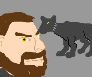 Mini jaguar eating a man's eyebrow.