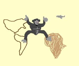 King Kong straddles continents