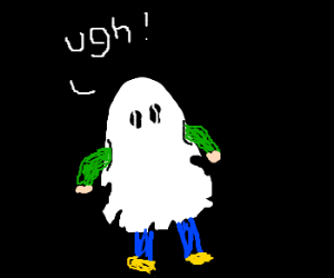 the ghost giving up pretend to be child